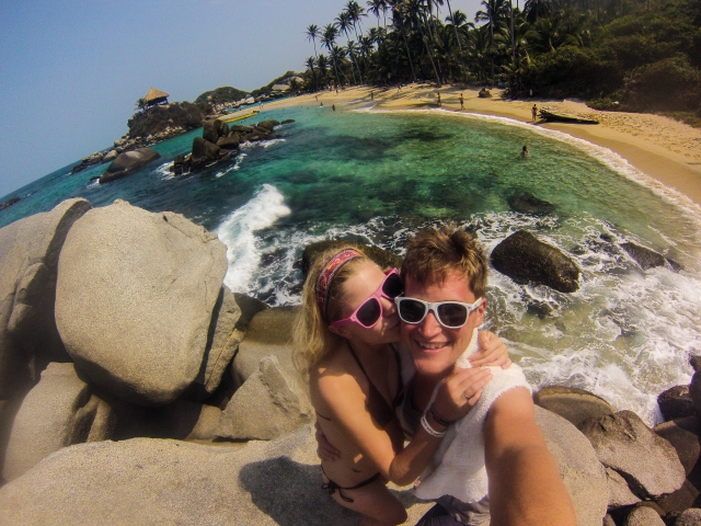 Exploring the beach at Tayrona
